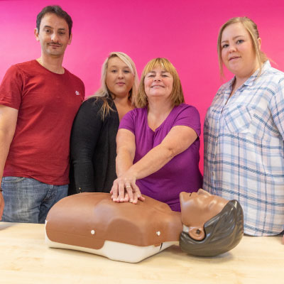 Training ream and first aid dummy, Menter Training, Cardiff